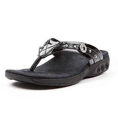 abc7bf55adaa10 Therafit Shoe Women s Brittany Jeweled Patent Leather Walking Sandal 6 Black