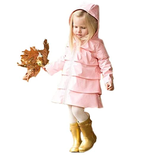 d10963cbc866 One persent Toddler Baby Girls Outwear Lightweight Coat Ruffle Hooded Dress  Coat Outdoor Exercise Jacket