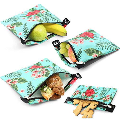 Nordic By Nature Premium Sandwich & Snack Bags for Women, Men & Kids (Green Flower) | Designer Set of 4 Pack | Reusable | Eco Friendly | Dishwasher Safe Lunch Baggies | Easy Open Zipper