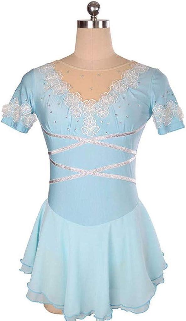 フィギュアスケートドレス、女性女の子手作り半袖ラインストーンスケートウェアクイックドライ通気性アイススケートドレス ブルー M