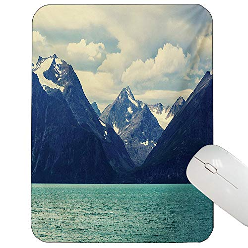 Mountain Mouse Pad Custom Northern Norway Atlantic Coastline Fishing Harbor Snowy Nature Gaming Mouse Pad Dark Blue Almond Green White 12