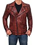 Decrum Vintage Distressed Genuine Lambskin Mens Leather Biker Jackets and Coats (XL, Frisco - Distressed Brown Leather Jacket)