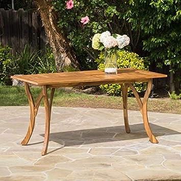 Great Deal Furniture 298194 Hestia Teak Finish Acacia Wood Rectangular Dining Table, Natural Staine