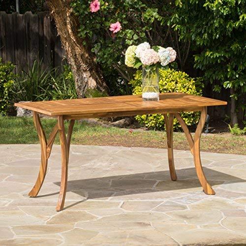 (Great Deal Furniture 298194 Hestia Teak Finish Acacia Wood Rectangular Dining Table, Natural Staine)