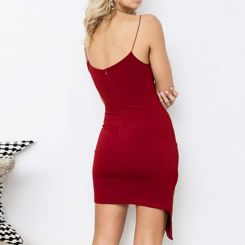 Fashion Women Camisole Sleeveless Irregularity Pure Color Buttock Mini Dress