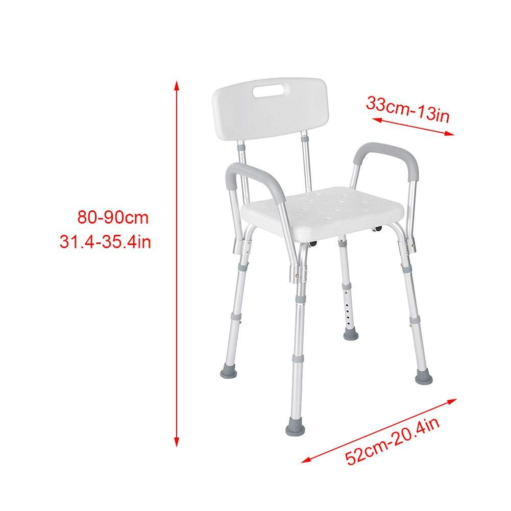 Shower Seat, Manufactured with High Polyethylene Material Adjustable Anti-Slip Detachable Bath Shower Stool for Pregnant Elderly Disabled Care by ZJchao (Image #3)