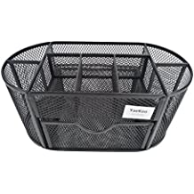 YaeKoo Desk Organizer | Caddy, Features Elegant Black Mesh Wire Design, 9 Space Saving Writing Supplies Compartments With a Large Drawer - Perfect For Gifts, Students, and Office Stationary (Black)