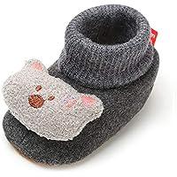 Baby Boys Girls Fleece Booties Non-Slip Bottom Winter Socks Shoes Unisex Pram Soft Sole First Birthday Gift