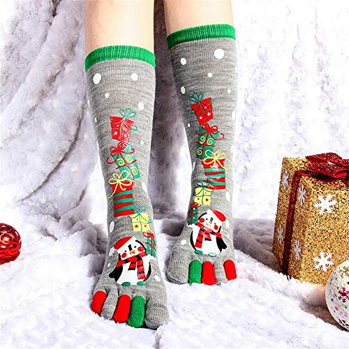 (Socks for Women Tronet Christmas Unisec Print Multicolor Toe Socks Five Finger Socks Cotton Funny Socks)