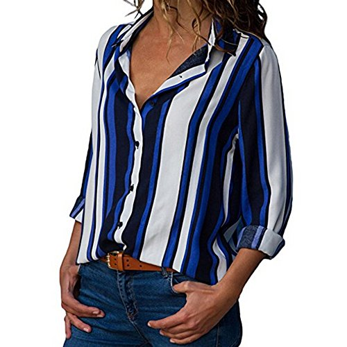 Clearance Sale Womens Tops vermers Women Casual Cuffed Long Sleeve V-Neck Button Up Striped Shirt Blouse(S, Blue) by vermers