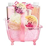 Pink Peony Bathroom Bath Gift Set for Women, Complete with Bath, Body and Skincare Products in a Chic and Classy Pink Tub, A Romantic Gift Idea for Her on Valentine's Day, spa baskets for women gifts