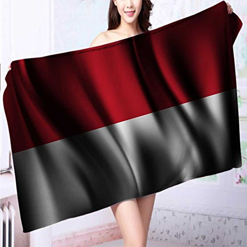 SeptSonne 100% Premium Quality Bath Towel Flag of INDONESIA Soft & Absorbent L39.4 x W19.7 INCH by SeptSonne