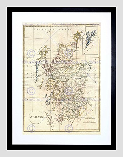 1799 CLEMENT CRUTTWELL MAP SCOTLAND VINTAGE BLACK FRAMED ART PRINT B12X2139 (Print Vintage Scotland)