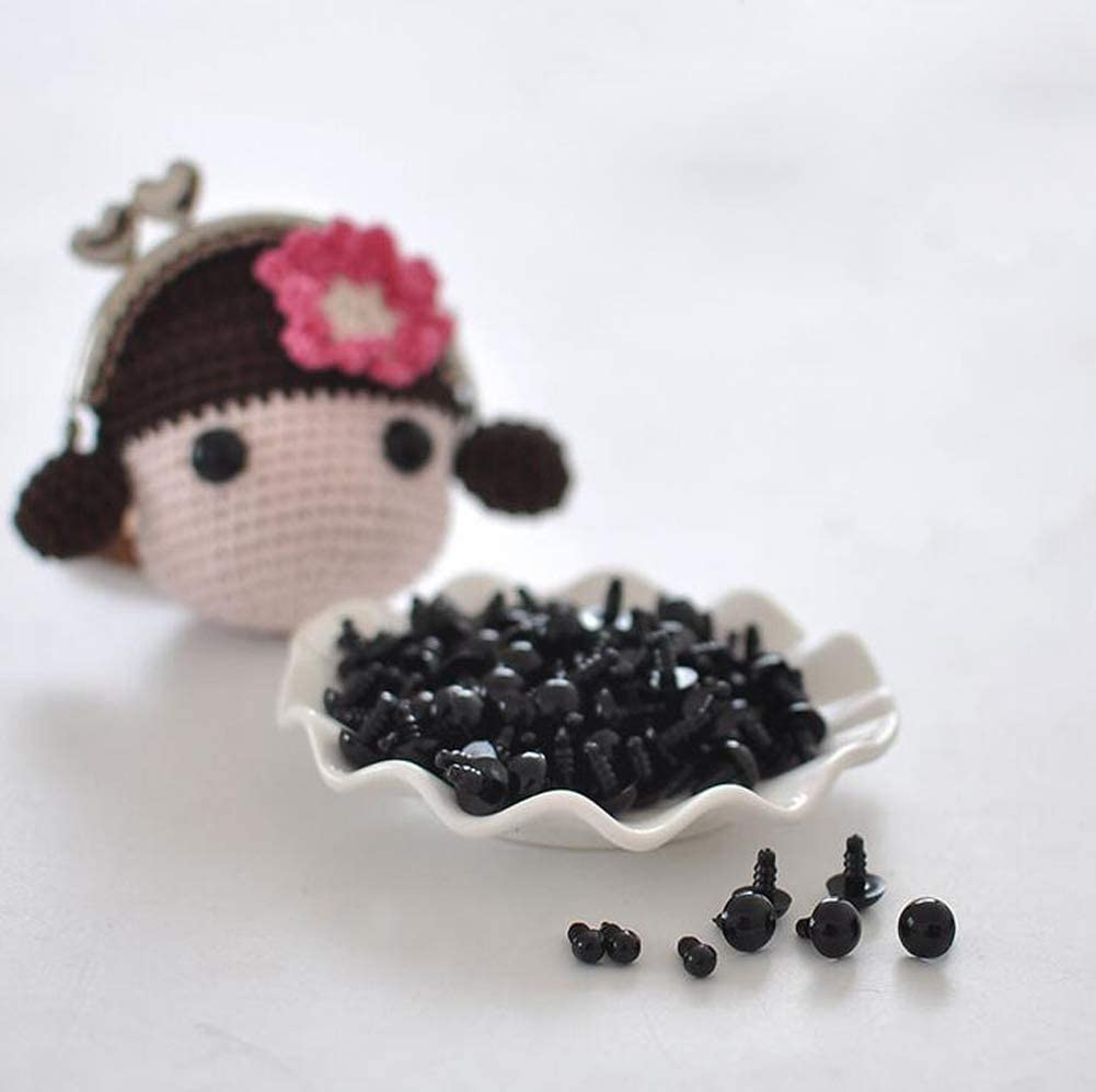 50Pcs 15mm//0.59inch Solid Black Plastic Safety Eyes with Washers Spiral DIY Craft Eyes Sewing Crafting Accessories for Doll Teddy Bear Puppet Animal Toys