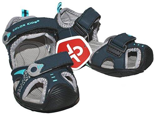 Trekkingsandale / Outdoorsandale in Blau / Grau Modell BOLA für Boys von COLOR KIDS Size 35
