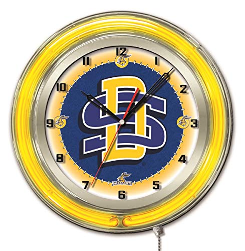 Holland Bar Stool Co. South Dakota State Jackrabbits HBS Neon Yellow Battery Powered Wall Clock (19