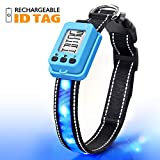 """Fashion&cool Dog Collar Light, USB Rechargeable Anti Lost Programmable ID Tag Custom Pet Name&Phone Number, Glowing Collar for Night Safety, Adjustable Size for Medium Large Dogs, Neck 16""""-20"""""""