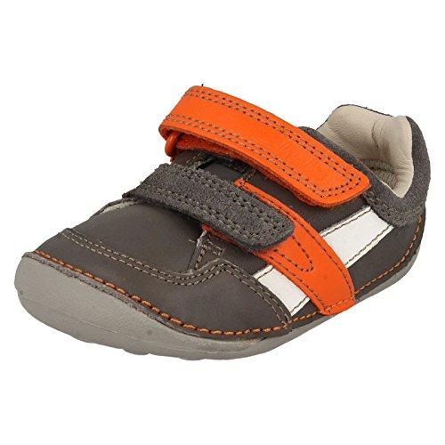 Bebé Niños Clarks zapatillas estilo Cruisers–Tiny Zakk Grey Combi