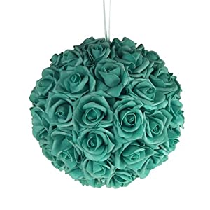 Soft Touch Foam Rose Flower Kissing Ball Wedding Centerpiece, 10-inch 11