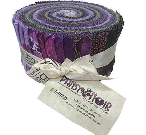Pansy Noir-40, 2.5 x 44 Cotton Strips Jelly Roll by Benartex Fabrics PWPNOPK