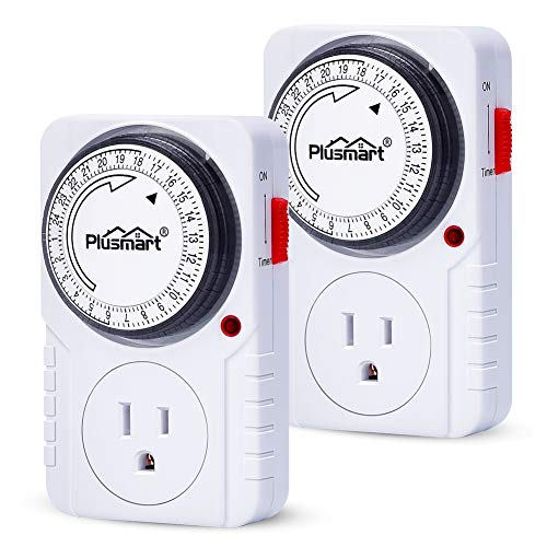 Plusmart Mechanical Timer Outlet, 24 Hour Programmable Light Timer Indoor, Plug-in Outlet Timer with Switch, Grounded Outlet, 15Amp, 2 Pack, ETL Listed