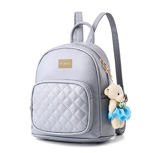 Handles Double Versace Bag - lcfun Women Leather Backpack Purse Satchel School Bags Casual Travel Daypacks Light Gray for Girls