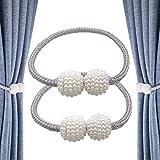 CUKCIC Magnetic Curtain Tiebacks Pearl Ball-Style Curtain Clips Rope Holdbacks Curtain Holder Buckles