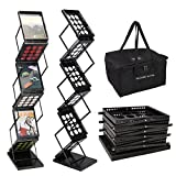 Foldable Magazine Holder Display Rack Stand Black with Carrying Case | Portable 6 Pocket Tiers Heavy Duty Pop-up Folding Rack Professional for Literature Business Brochure Advertisement Office Catalog