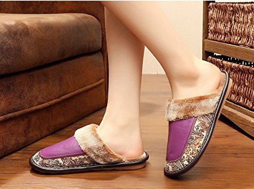 TELLW Winter Leder Pantoffeln Indoor Fell Herren und Damen Plüsch Schuhe Wasserdicht Pantoffeln Braun