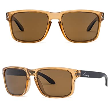 09bd0f0bc43 Bnus italy made classic sunglasses corning real glass lens w. polarized  option (Crystal Brown