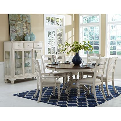 Hillsdale Pine Island 7 Piece Round Dining Set In Old White