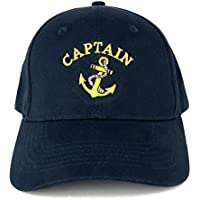 Captain Anchor Embroidered Deluxe 100% Cotton Cap (One Size Navy)