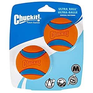 "Chuckit! Ultra Ball, Medium, 2.5"", 2 Pack, Orange/Blue"
