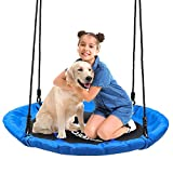 ENKEEO Saucer Tree Swing for Kids Adults, Easy to Install with Hanging Strap and Adjustable Multi-Strand Ropes Kit, Waterproof 900D Oxford Anti-Fade Seat, 40 Inches Diameter, 600 lbs Weight Capacity