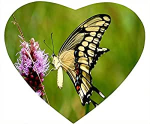 Butterfly Nonskid Natural Rubber Base Heart Shaped White DIY Mouse Pad - Beautiful Flower and Butterfly