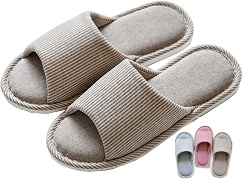 Cotton Slide - Lijeer Men Indoor Home Slippers Women Cotton Cozy Memory Foam Flax House Casual House Open-Toes Striped Slide Gray US7.5-8=EU40-41=UK6.5-7