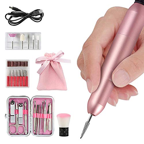 Electric Nail Drill Set, SYNERKY 11 in 1 Portable Professional Manicure Pedicure Tools With Nail Polish Clippers Kit & Nail Sand Bands & Nails Brush for Acrylics Gel Nails ()