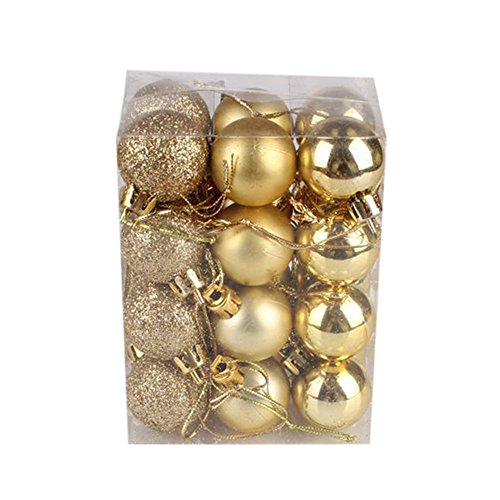 UNBRUVO 24Pcs Christmas Balls Ornaments -30mm Christmas Xmas Tree Ball Bauble Hanging Home Party Ornament Decor for Holiday Wedding Party Decoration (Gold, 30mm)