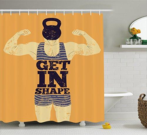 Vintage Curtain Ambesonne Bodybuilding Bathroom