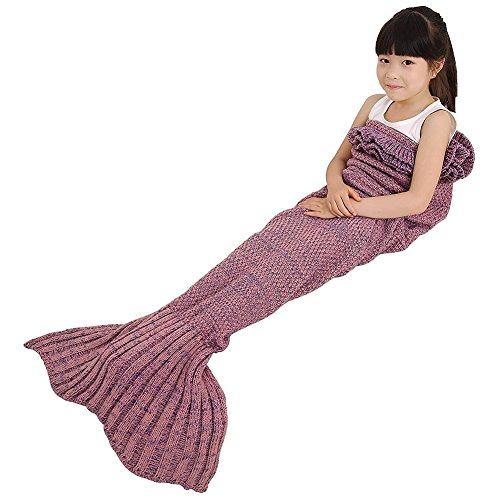 Mermaid Tail Blanket, Masall Hand Crochet Knitted Snuggle Warm Sofa Throw, All Seasons Soft Novelty Sleeping Bag for Kids Pink (Kids Snuggle Bag)