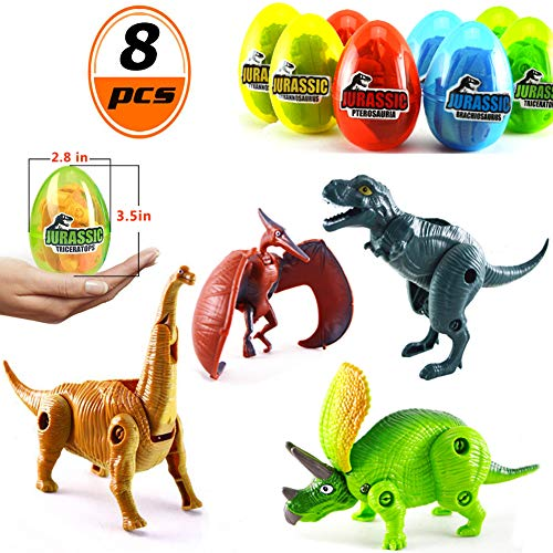"""MIGE 8 Pack 3.5"""" Jumbo Dinosaur Easter Eggs with Dinosaur Toys Filled for Kids Boys Girls Toddlers Easter Gifts Easter Party Favors Supplies Easter Basket Stuffers Fillers ()"""