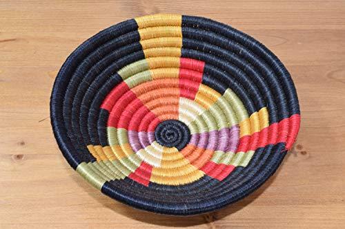 Small Handwoven African Basket - Sisal & Sweetgrass Basket - African Gift -Decorative Woven Bowl - Handmade in Rwanda ~7'' Fern Green, Crimson Red, Black, SRB113
