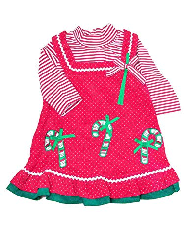 Infant Baby Girls Red Jumper Candycane Christmas Holiday Party Dress 2T