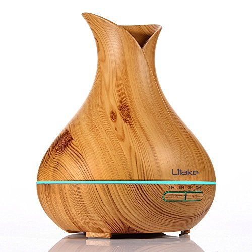Litake Essential Oil Diffuser 400ml Cool Mist Humidifier Ultrasonic Aromatherapy Wood-Grain Whisper Quiet Operation 7 Color Changing Light for Office Home Bedroom Living Room Study Yoga Spa