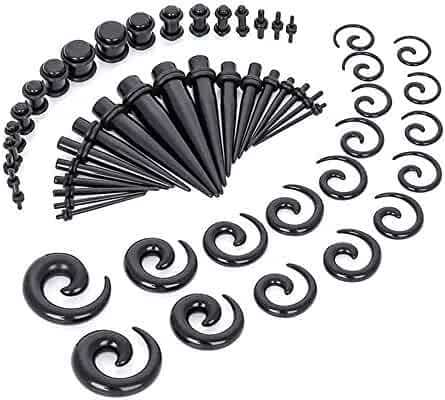 18Pcs Acrylic Tapers Tunnels Set Taper Straight Ear Gauge Plugs Kit with Double Silicone O-Ring Prefect for Punk Street or Daily MSVBS Ear Gauges Stretching Kit