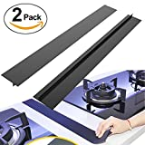 BRILLIFE Kitchen Silicone Stove Counter Gap Cover, 2Pcs Long & Wide Gap Filler 21' X1/2' Premium Silicone Spill Guard for Stovetop, Counter, Oven, Washer, Dryer,FDA&LFGB Free (Black)