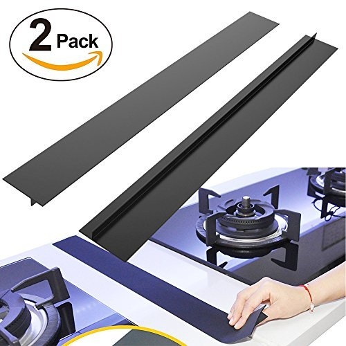"""BRILLIFE Kitchen Silicone Stove Counter Gap Cover, 2Pcs Long & Wide Gap Filler 21"""" X1/2"""" Premium Silicone Spill Guard for Stovetop, Counter, Oven, Washer, Dryer,FDA&LFGB Free (Black)"""