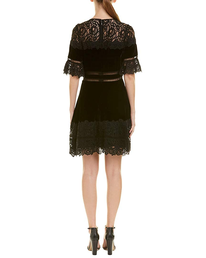 f4e8e19023cf Amazon.com  Rebecca Taylor Women s Short Sleeve Velvet   Lace Dress ...