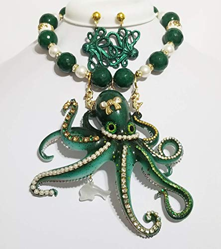 Big Green Octopus Nautical Statement Gemstone Mother of Pearl Necklace Earrings Signed One of a - Signed Rhinestone Earrings
