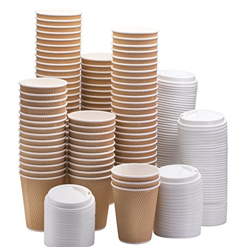 NYHI Set of 100 Ripple Insulated Kraft 10oz Paper Cups with 100 White Lids for Hot Drinks-Tea & Coffee (100, 10 Ounce)